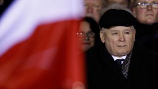 Jaroslaw Kaczynski attends a pro-government proof to symbol a 35th anniversary of a organise law in Warsaw (13 December)