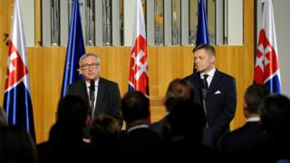 European Commission President Jean-Claude Juncker and Slovak Prime Minister Robert Fico deliver a speech on 30 June