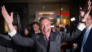 UKIP Leader Nigel Farage at the Leave.EU party