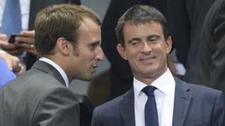 Manuel Valls (R) with Emmanuel Macron - file pic 2014
