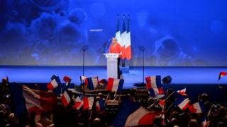 Marine Le Pen during a campaign rally in France