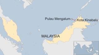 Pulau Mengalum and Kota Kinabalu shown off the coast of Malaysia