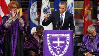 : U.S. President Barack Obama delivers the eulogy for South Carolina state senator and Rev. Clementa Pinckney during Pinckney's funeral service June 26, 2015 in Charleston, South Carolina
