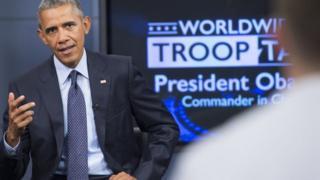 President Obama speaks to US military members
