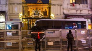 Heavy security outside Dutch consulate in Istanbul - 13 March