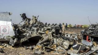 Debris of the A321 Russian airliner in Egypt's Sinai Peninsula