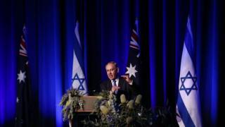 Israeli Prime Minister Benjamin Netanyahu speaks at a function in Sydney