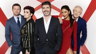 Left-right: X Factor's Dermot O'Leary, Sharon Osbourne, Simon Cowell and Louis Walsh