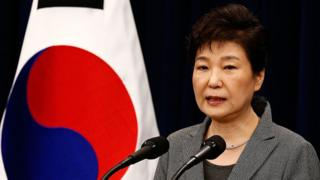 South Korean President Park Geun-Hye makes a speech during an address to the nation, at the presidential Blue House in Seoul on 29 November 2016