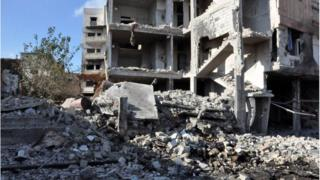 Destruction in Homs from bomb attack (05/09/16)