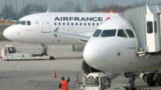 Air France planes on the tarmac at Roissy Charles de Gaulle airport on March 18, 2015