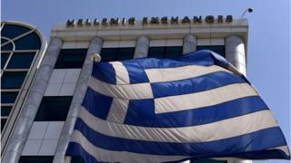 Greek flag outside the Athens stock exchange