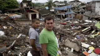 Residents in the Ecuadorean town of Pedernales