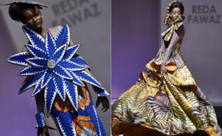Model presents creations by label Reda Fawaz during a fashion show marking the 170th anniversary of Dutch manufacturer Vlisco in Abidjan, Ivory Coast - Saturday 26 November 2016
