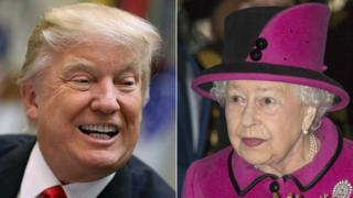 Composite image of Donald Trump and the Queen