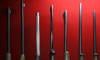 Rifles on display in a Japanese gun shop