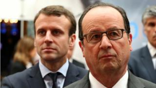 File pic: French President Francois Hollande (R) and French Economy Minister Emmanuel Macron (L) - May 2016