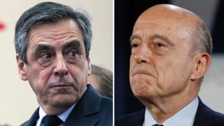 Francois Fillon (left) could be replaced by Alain Juppe if he withdraws from the presidential race