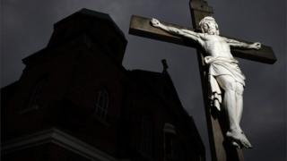 A crucifix outside a church