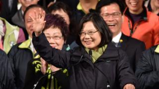 Tsai Ing-wen, waving after her victory in the presidential election in Taiwan