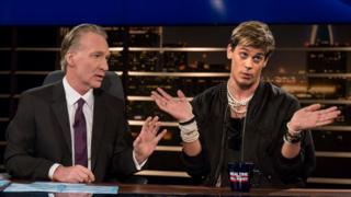 Comedian Bill Maher (left) with Milo Yiannopoulos (right)