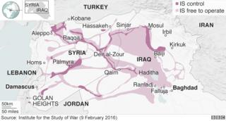 Map showing areas of Iraq and Syria under IS control