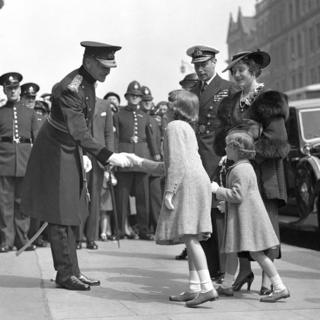 Princess Elizabeth and Margaret with the Duke and Duchess of York at the Royal Tournament at Olympia