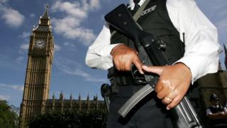 Armed police officer at Westminster