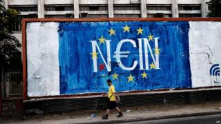 "Graffiti in Athens in support of a ""no"" vote in the referendum on bailout terms, 28 June 2015"