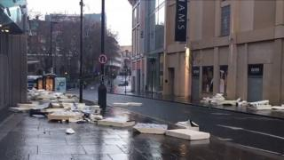 Wind damage in Newgate Street
