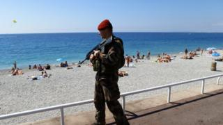French soldier on patrol in Nice, 18 July