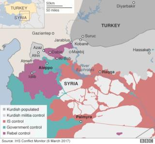 Map showing control of northern Syria (6 March 2017)