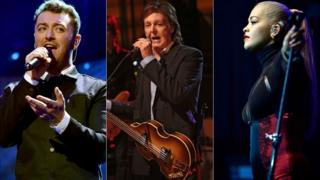 Sam Smith, Paul McCartney and Rita Ora