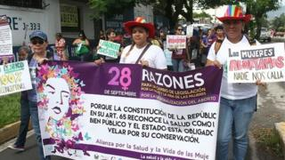 Salvadorean women march demanding the decriminalization of abortion towards the Legislative Assembly in San Salvador on September 28, 2016.