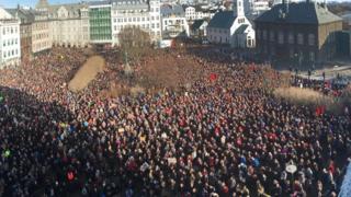 Protests in Austurvollur, Iceland