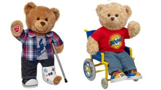 Two of the bears - one with a crutch, one is in a wheelchair