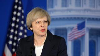Theresa May speaking to Republicans in Philadelphia