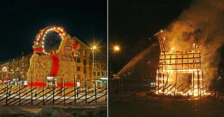 A composite image of the straw goat intact, and in flames