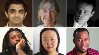 Man Booker 2015 authors: (clockwise from top left) Sunjeev Sahota, Anne Tyler, Tom McCarthy, Chigozie Obioma, Hanya Yanagihara, Marlon James