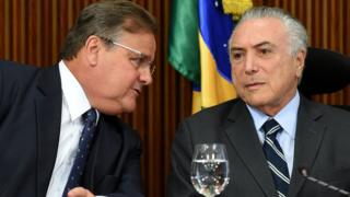 Brazilian President Michel Temer and the General Secretary of the Brazilian Presidency Geddel Vieira Lima on 15 June