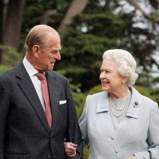 Queen Elizabeth II and the Duke of Edinburgh revisiting Broadlands in Hampshire, where they spent their wedding night in November 1947, to mark their diamond wedding anniversary
