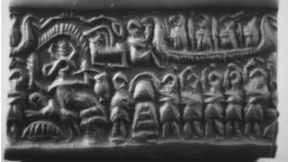 Sumerian seal with carved images