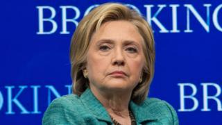 US Democratic presidential candidate Hillary Clinton takes part in a discussion at the Brookings Institution