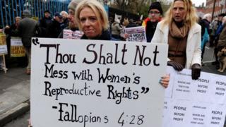 Women protesting in Ireland in 2012