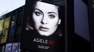Billboard in New York advertising Adele's new LP 25