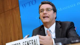 Director-general of the World Trade Organization (WTO) Roberto Azevedo of Brazil, gives a press conference on 9 Sept 2013