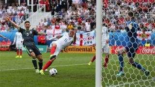 Jamie Vardy scores his third goal for England