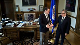 Luis Florido, a member of the opposition in the Venezuelan National Assembly, stands with Luis Almagro, Secretary General of the Organisation of American States, at the Organisation of American States on May 20, 2016 in Washington, DC.