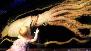 Child looking at a giant squid in a museum