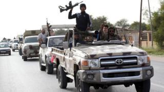 Members of the Libya Dawn militia in in the city of Sabratha, west of the capital Tripoli, on 28 February 2016